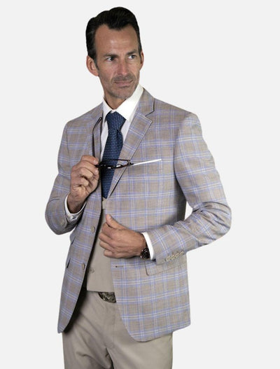 Statement Men's Sand & Light Blue Plaid 100% Wool Slim Fit Suit