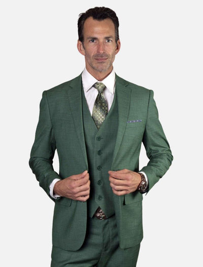 Statement Men's Forest Green 100% Wool Slim Fit Suit