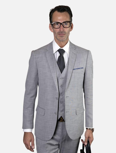 Statement Men's Dusty Grey 100% Wool Slim Fit Suit