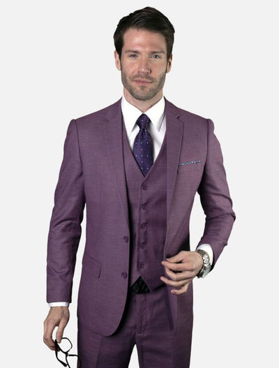 Statement Men's Mauve 100% Wool Slim Fit Suit (Clearance Final Sale)