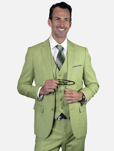 Statement Men's Pistachio 100% Wool Slim Fit Suit