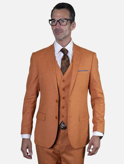 Statement Men's Rust 100% Wool Slim Fit Suit