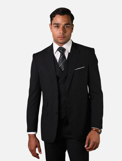Statement Men's Solid Black with Double-Breasted Vest 100% Wool Vested Suit