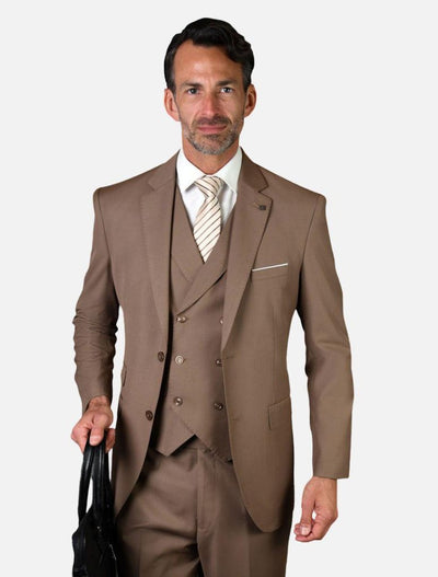 Statement Men's Solid Bronze with Double-Breasted Vest 100% Wool Vested Suit