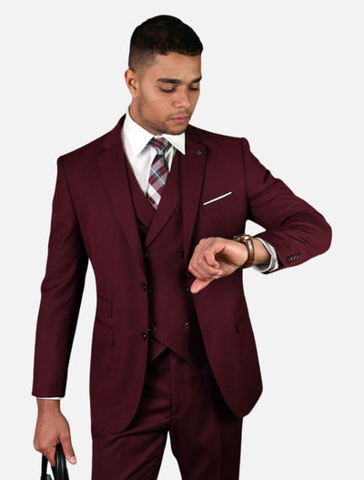 Statement Men's Solid Burgundy with Double-Breasted Vest 100% Wool Vested Suit