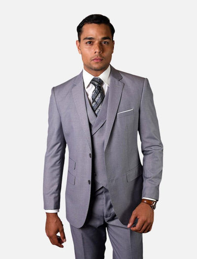 Statement Men's Solid Grey with Double-Breasted Vest 100% Wool Vested Suit