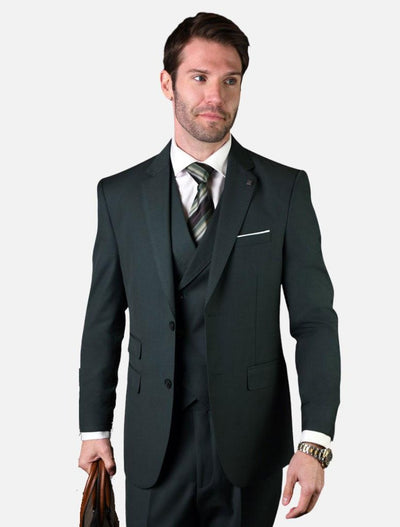 Statement Men's Solid Hunter with Double-Breasted Vest 100% Wool Vested Suit