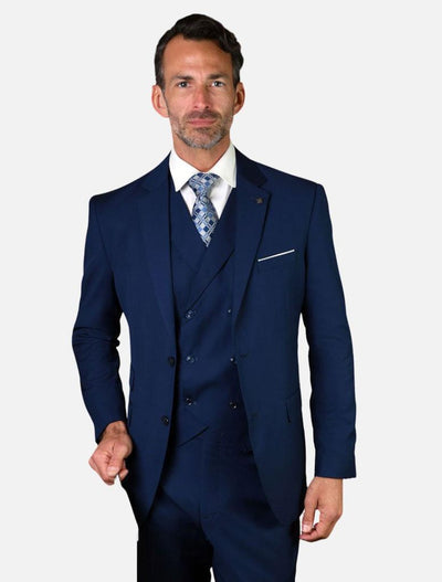 Statement Men's Solid Sapphire with Double-Breasted Vest 100% Wool Vested Suit