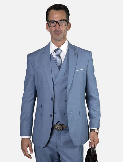 Statement Men's Steel Blue with Double Breasted Vest 100% Wool Vested Suit
