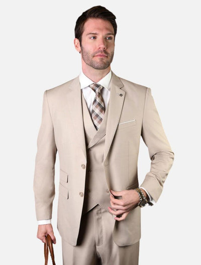 Statement Men's Solid Tan with Double-Breasted Vest 100% Wool Vested Suit