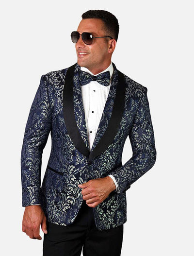 Statement Men's Sapphire Patterned Tuxedo Jacket with Bow Tie