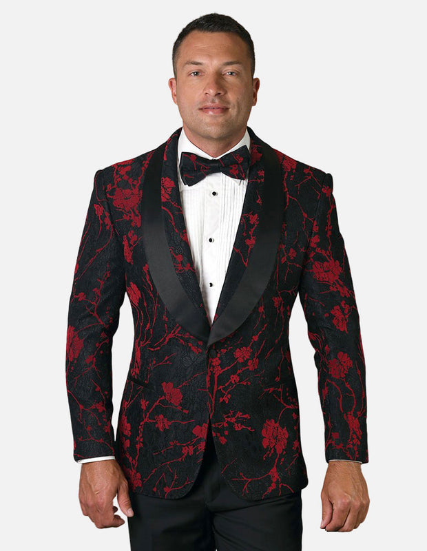 Statement Men's Black & Red Floral Patterned Tuxedo Jacket with Bow Tie