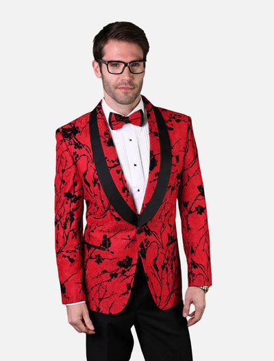 Statement Men's Red Patterned Tuxedo Jacket with Bow Tie