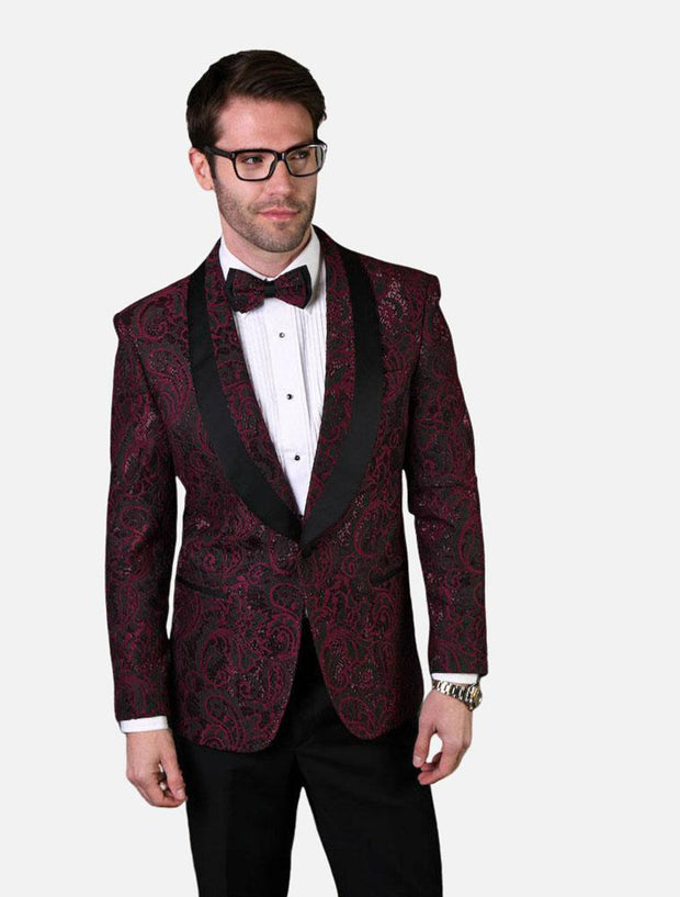 Statement Men's Red & Black Paisley Patterned Tuxedo Jacket with Bow Tie