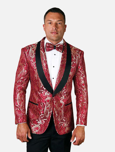 Statement Men's Eggplant Patterned Tuxedo Jacket with Bow Tie