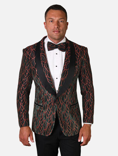 Statement Men's Hunter Green Patterned Tuxedo Jacket with Bow Tie