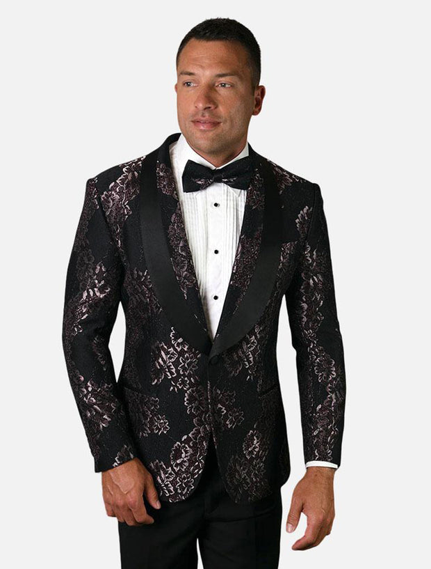 Statement Men's Fuchsia Patterned Tuxedo Jacket with Bow Tie