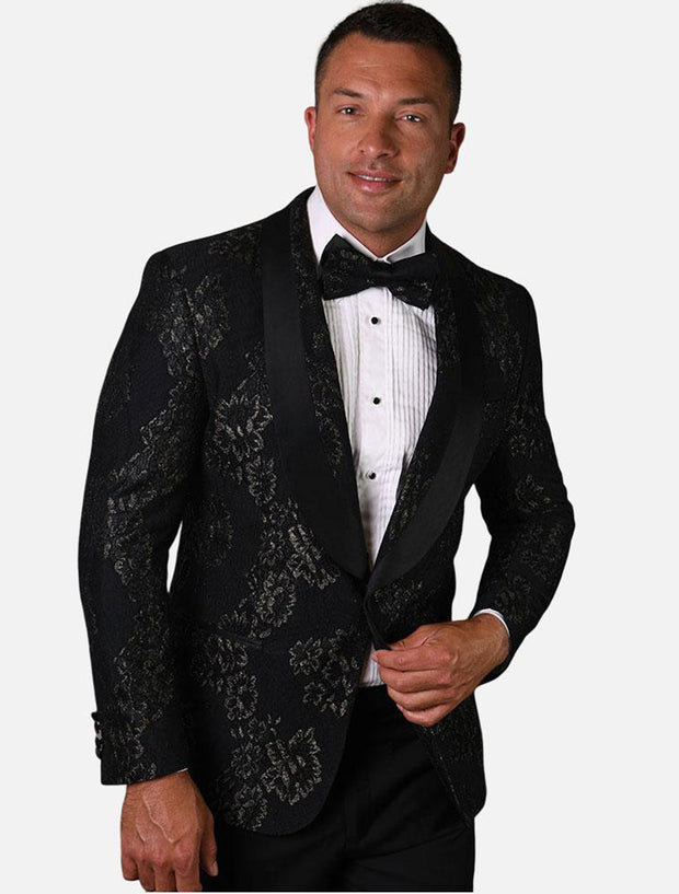 Statement Men's Black & Gold Patterned Tuxedo Jacket with Bow Tie