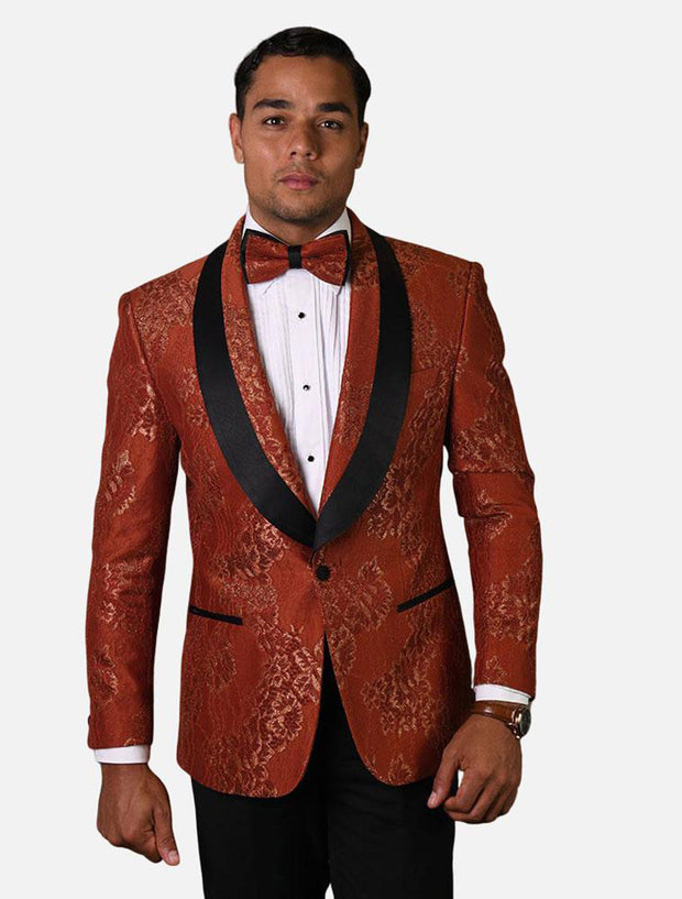 Statement Men's Copper Patterned Tuxedo Jacket with Bow Tie