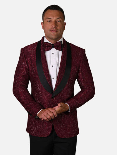 Statement Men's Burgundy Patterned Tuxedo Jacket with Bow Tie