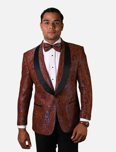 Statement Men's Chocolate Patterned Tuxedo Jacket with Bow Tie