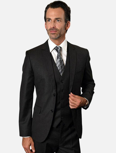 Statement Men's Black 100% Wool Slim Fit Suit