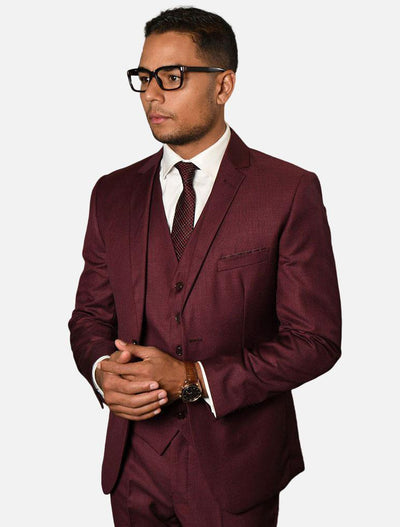 Statement Men's Burgundy 100% Wool Slim Fit Suit