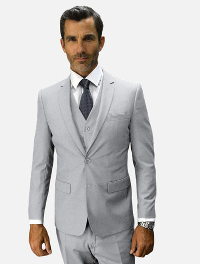 Statement Men's Ash Grey 100% Wool Slim Fit Suit-Front