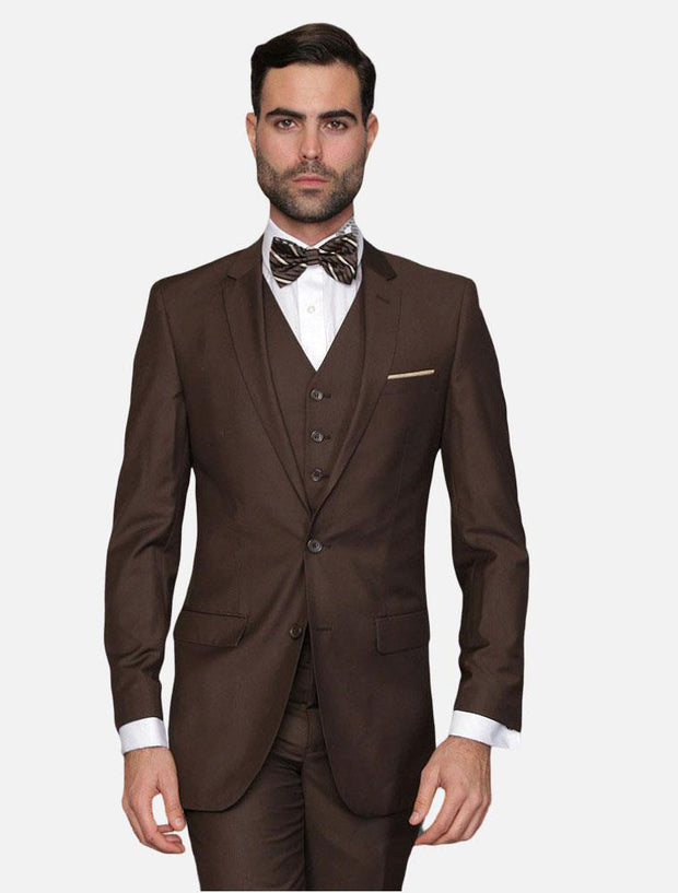 Statement Men's Brown 100% Wool Slim Fit Suit
