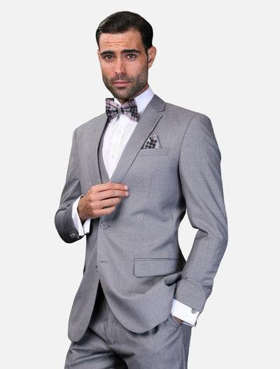 Statement Men's Grey 100% Wool Slim Fit Suit