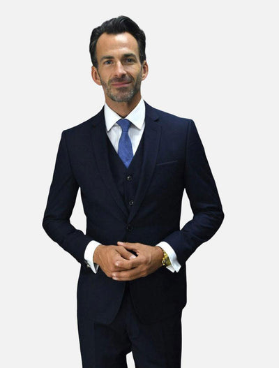 Statement Men's Navy 100% Wool Slim Fit Suit