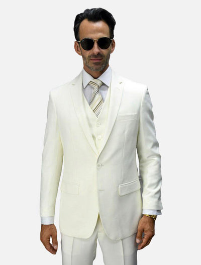 Statement Men's Off White 100% Wool Slim Fit Suit