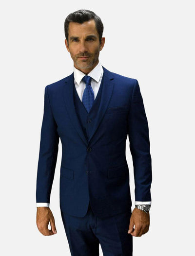 Statement Men's Sapphire 100% Wool Slim Fit Suit