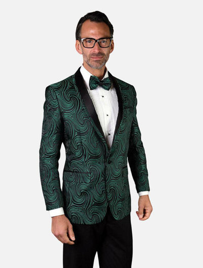 Statement Men's Emerald Patterned Tuxedo Jacket with Bow Tie