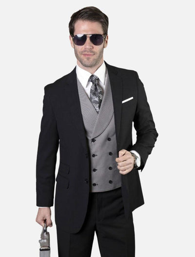 Statement Men's Solid Black with Grey Double-Breasted Vest 100% Wool Vested Suit