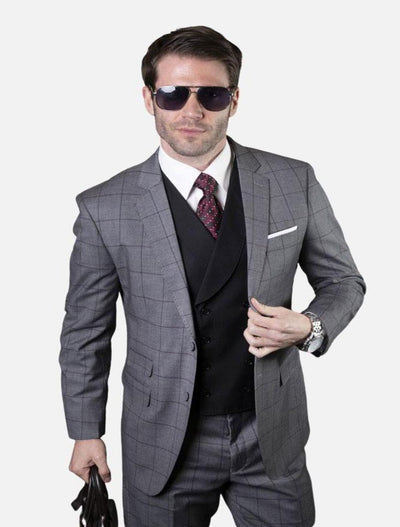 Statement Men's Grey Windowpane 100% Wool Vested Suit