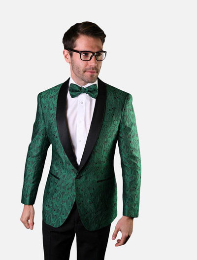 Statement Men's Green Patterned Tuxedo Jacket with Bow Tie