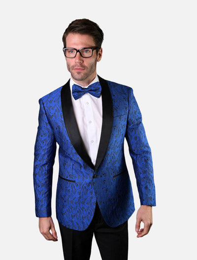 Statement Men's Royal Blue Patterned Tuxedo Jacket with Bow Tie