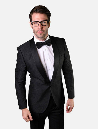 Statement Men's Black Patterned Tuxedo Jacket with Bow Tie