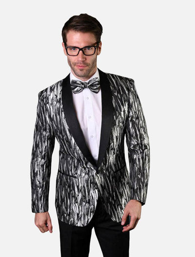 Statement Men's Silver Patterned Tuxedo Jacket with Bow Tie