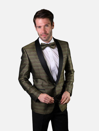 Statement Men's Gold Patterned Tuxedo Jacket with Bow Tie