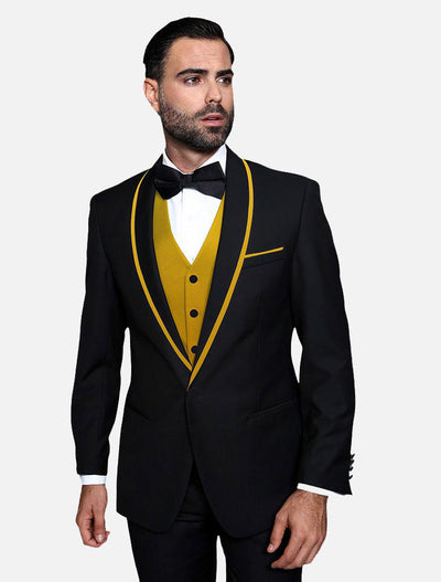 Statement Men's Black with Gold Lapel Vested 100% Wool Tuxedo