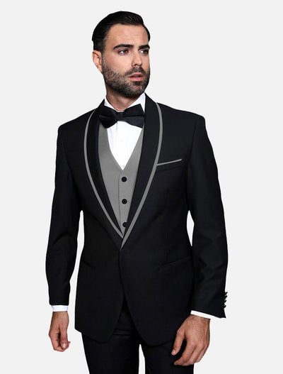 Statement Men's Black with Grey Lapel Vested 100% Wool Tuxedo
