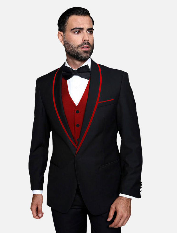 Statement Men's Black with Red Lapel Vested 100% Wool Tuxedo