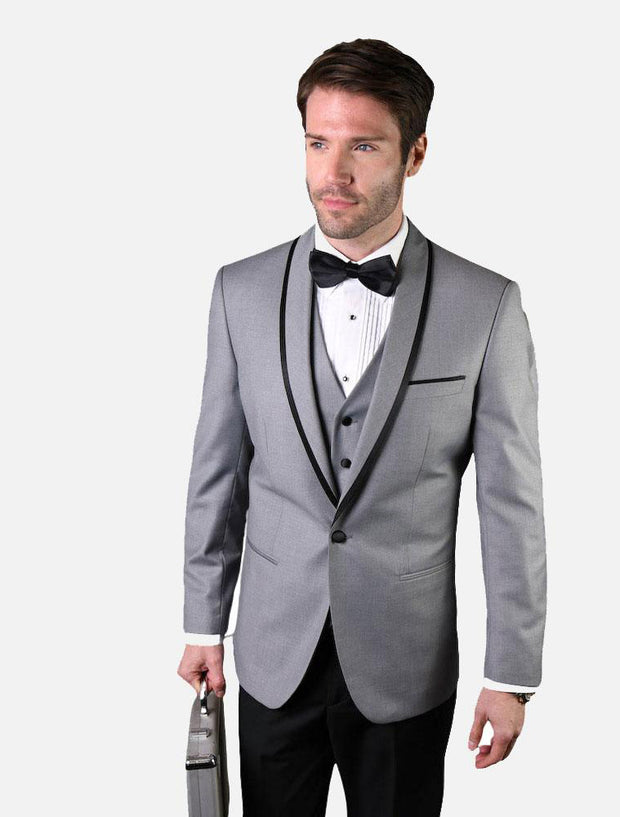 Statement Men's Grey with Black Lapel Vested 100% Wool Tuxedo