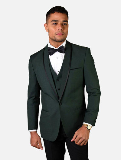 Statement Men's Hunter Green Vested with Fine Lapel 100% Wool Tuxedo