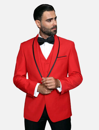 Statement Men's Red Vested with Black Trim Fine Lapel 100% Wool Tuxedo