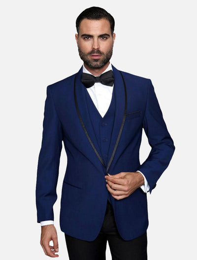 Statement Men's Sapphire Vested with Black Trim Fine Lapel 100% Wool Tuxedo