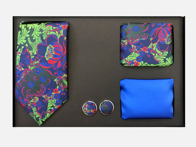 Men's Four Piece Blue and Green Floral Patterned Gift Box