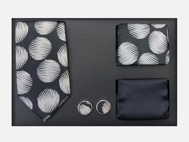 Men's Four Piece Black and Grey Circle Patterned Gift Box